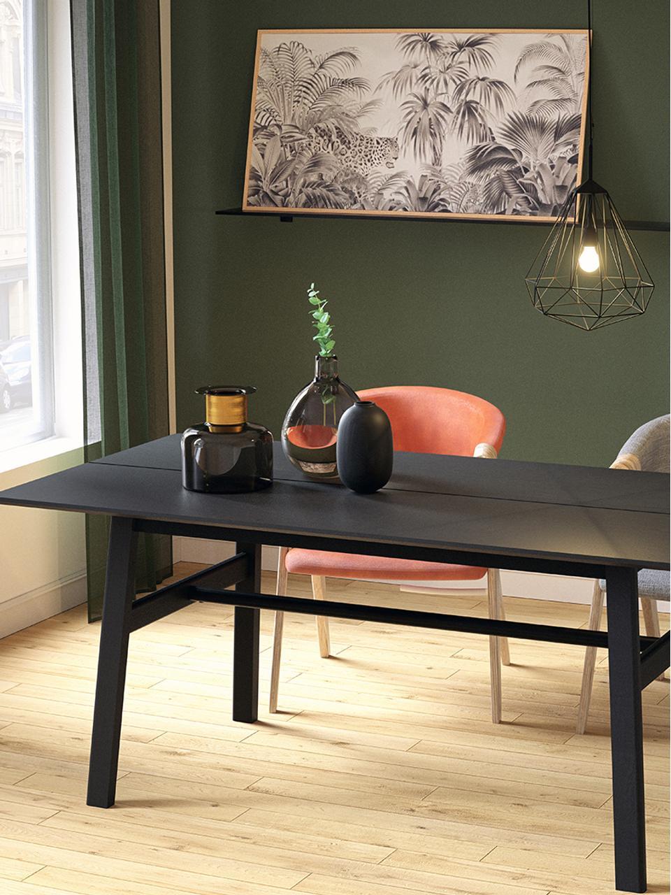 Esstisch Larson in Schwarz, Tischplatte: Spanplatte mit Eichenholz, Gestell: Massiver Buchenholz mit E, Eichenholzfurnier, schwarz lackiert, B 180 x T 90 cm