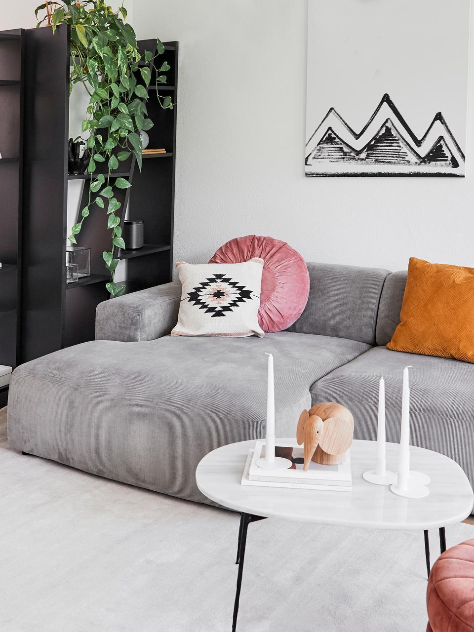 Corduroyhoekbank Melva (3-zits) in grijs, Bekleding: Koord (92% polyester, 8% , Frame: massief grenenhout, spaan, Poten: grenenhout, Grijs, B 240 x D 144 cm