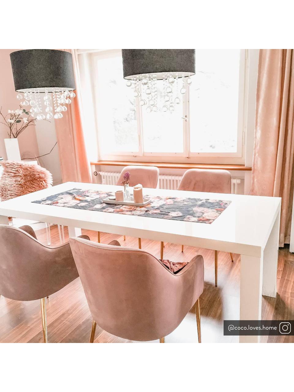 Sedia con braccioli  in velluto rosa cipria Ava, Rivestimento: velluto (poliestere) 50.0, Gambe: metallo zincato, Velluto malva, gambe oro, Larg. 57 x Prof. 63 cm