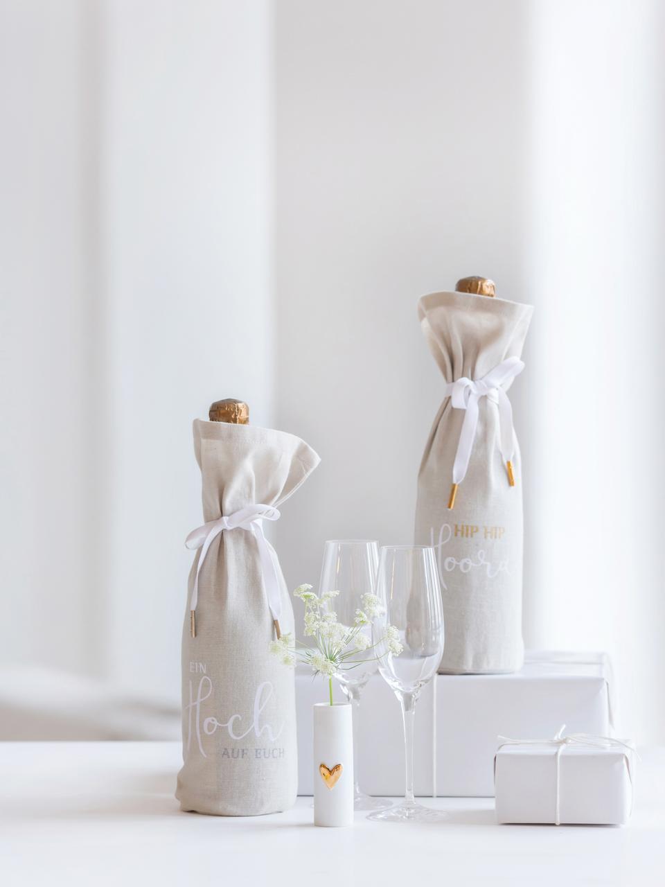 Petit vase porcelaine Heart, 2 pièces, Blanc, couleur dorée