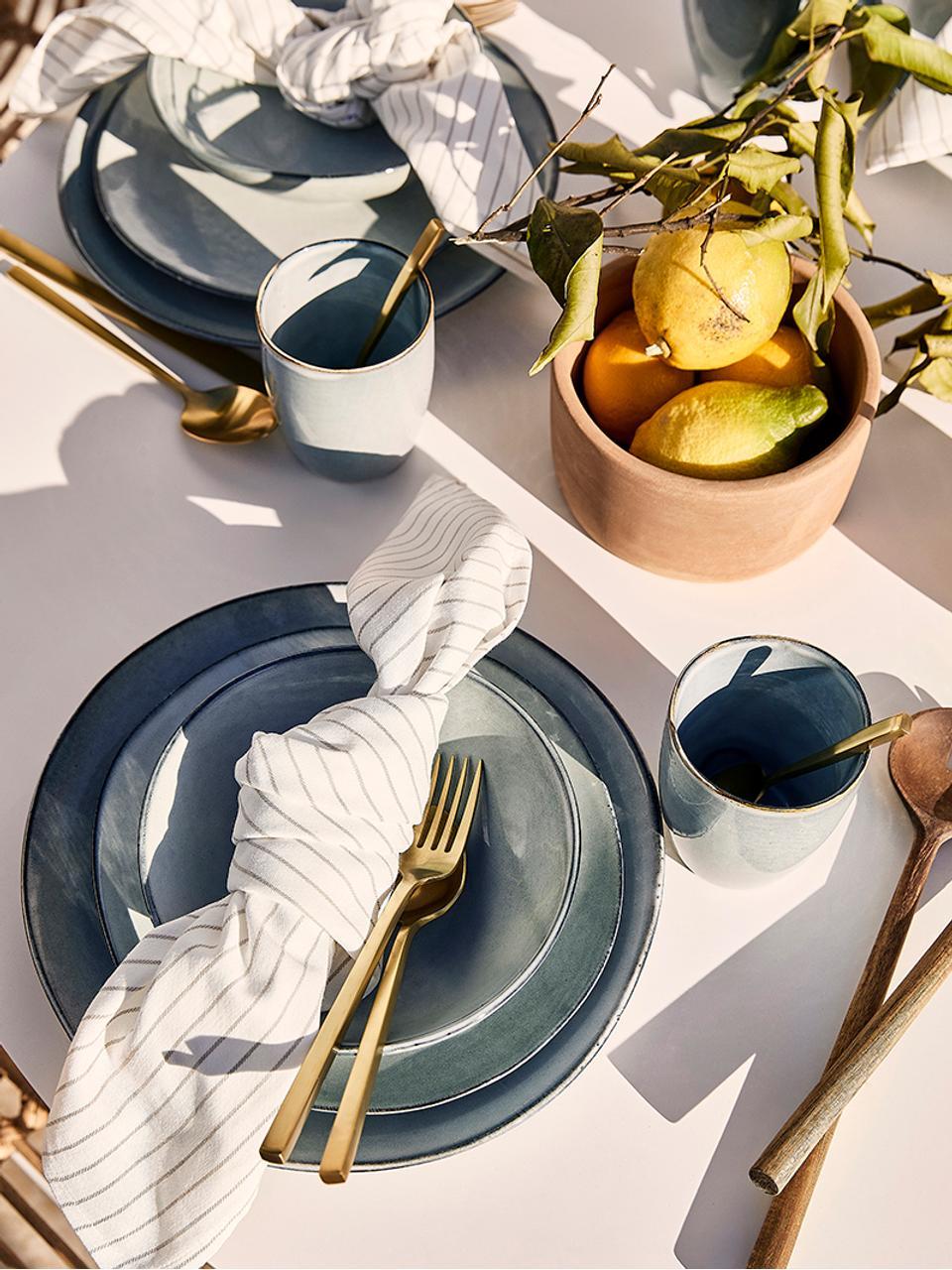 Goldfarbenes Besteck-Set Shine aus Edelstahl, in verschiedenen Setgrößen, Messer: Edelstahl 13/0, Goldfarben, 1 Person (5-tlg.)