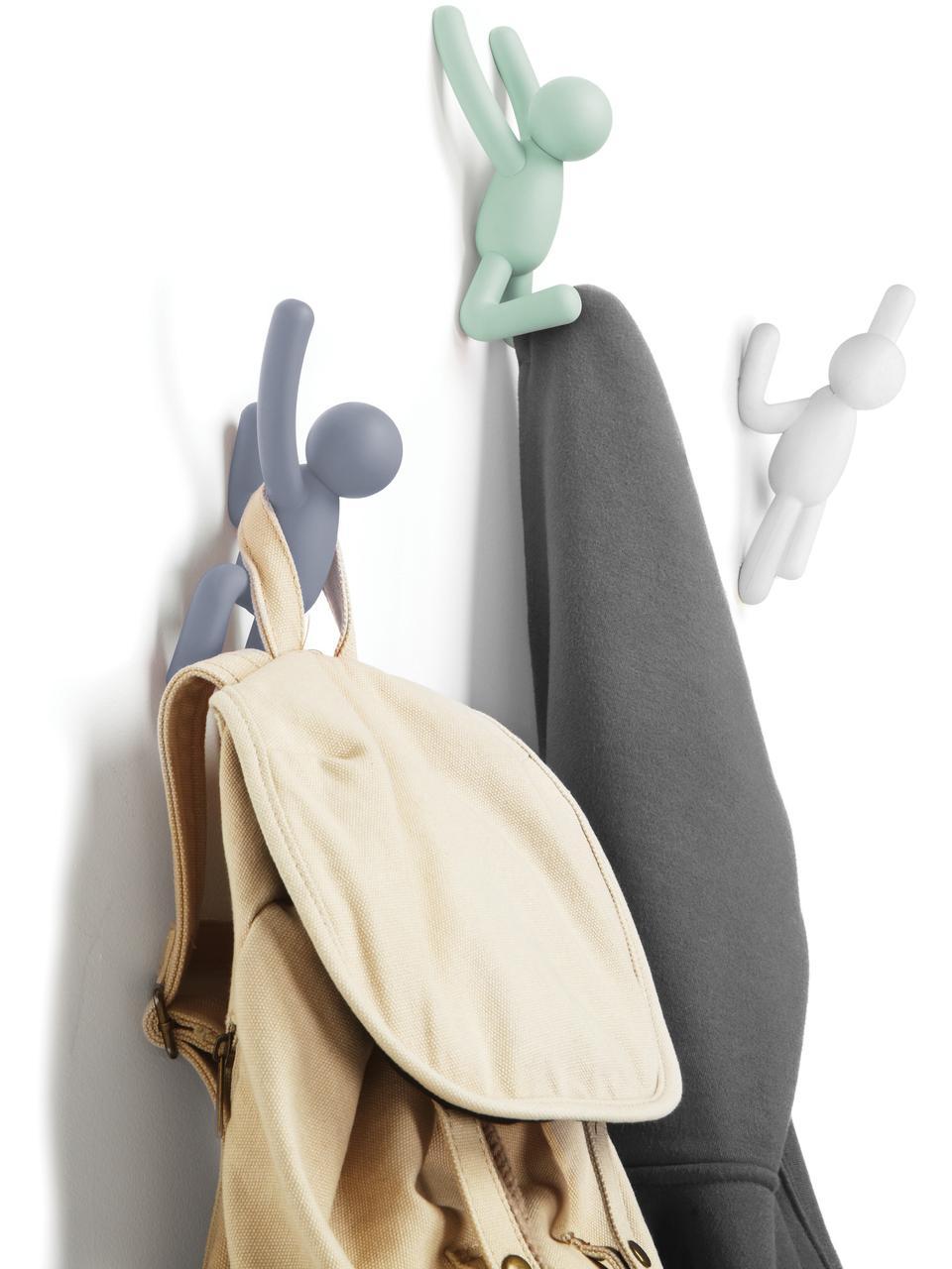 Design Wandhaken-Set Buddy, 3-tlg., ABS-Kunststoff, Blau, Mint, Weiß, Sondergrößen