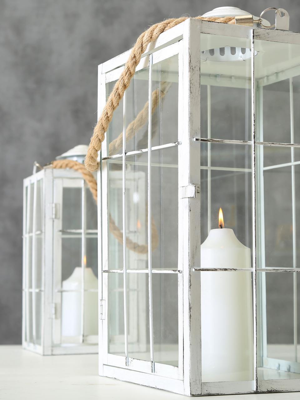 Laternen-Set Barracuda, 2-tlg., Gestell: Metall, beschichtet, Griff: Jute, Weiß, Transparent, Jute, Set mit verschiedenen Größen