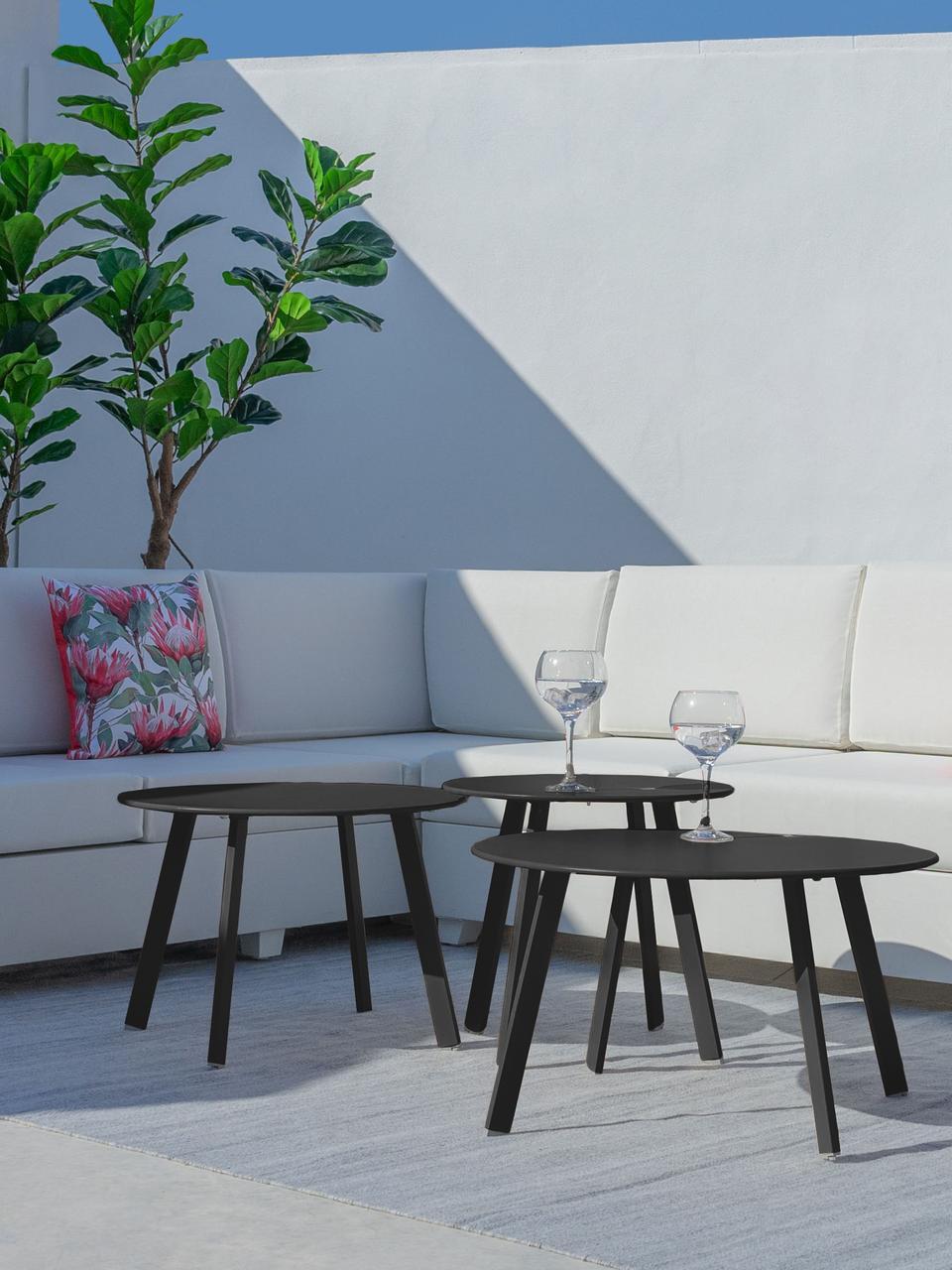 Gartenbeistelltisch Marzia in Dunkelgrau, Stahl, epoxidiert, Anthrazit, Ø 70 x H 40 cm