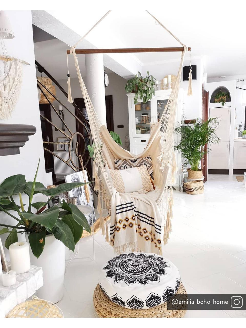 Sedia a sospensione con frange Kauana, Crema, Lung. 100 x Alt. 130 cm