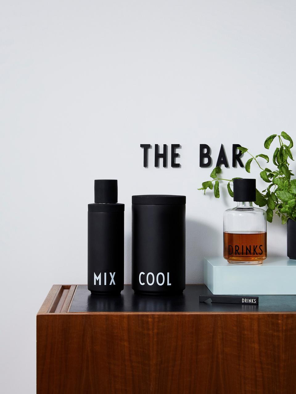 Cocktailshaker Mix, Fles: RVS, Sluiting: RVS met siliconensluiting, Buitenzijde: mat zwart, wit. Binnenzijde: edelstaalkleurig, Ø 7 x H 23 cm
