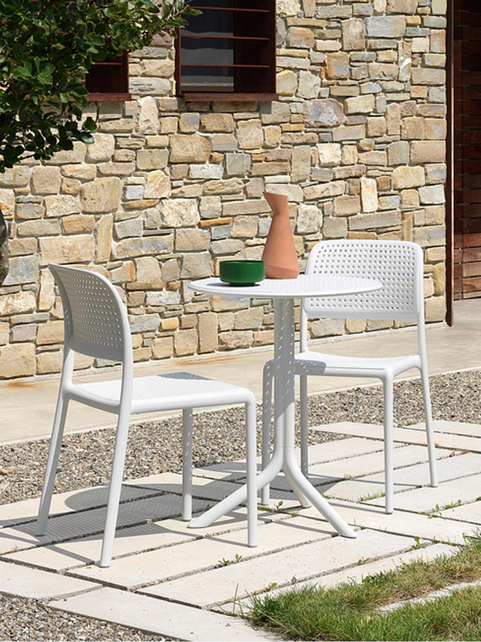 Runder Balkontisch Step, höhenverstellbar, Kunststoff, glasfaserverstärkt, Weiss, matt, Ø 60 x H 75 cm