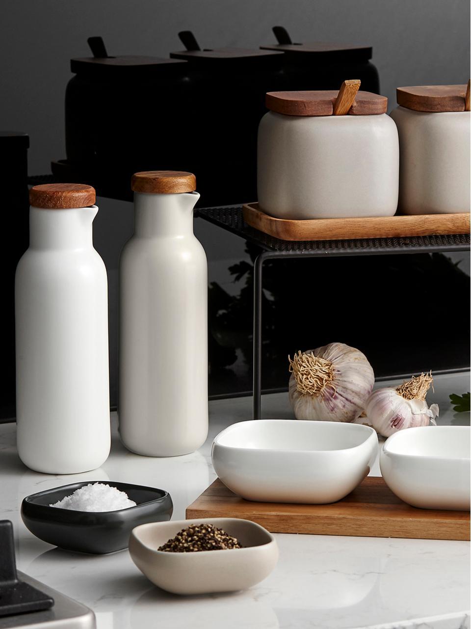 Set olio e aceto Essentials 2 pz, Porcellana, legno d'acacia, Sabbia, bianco, legno di acacia, Ø 6 x Alt. 18 cm