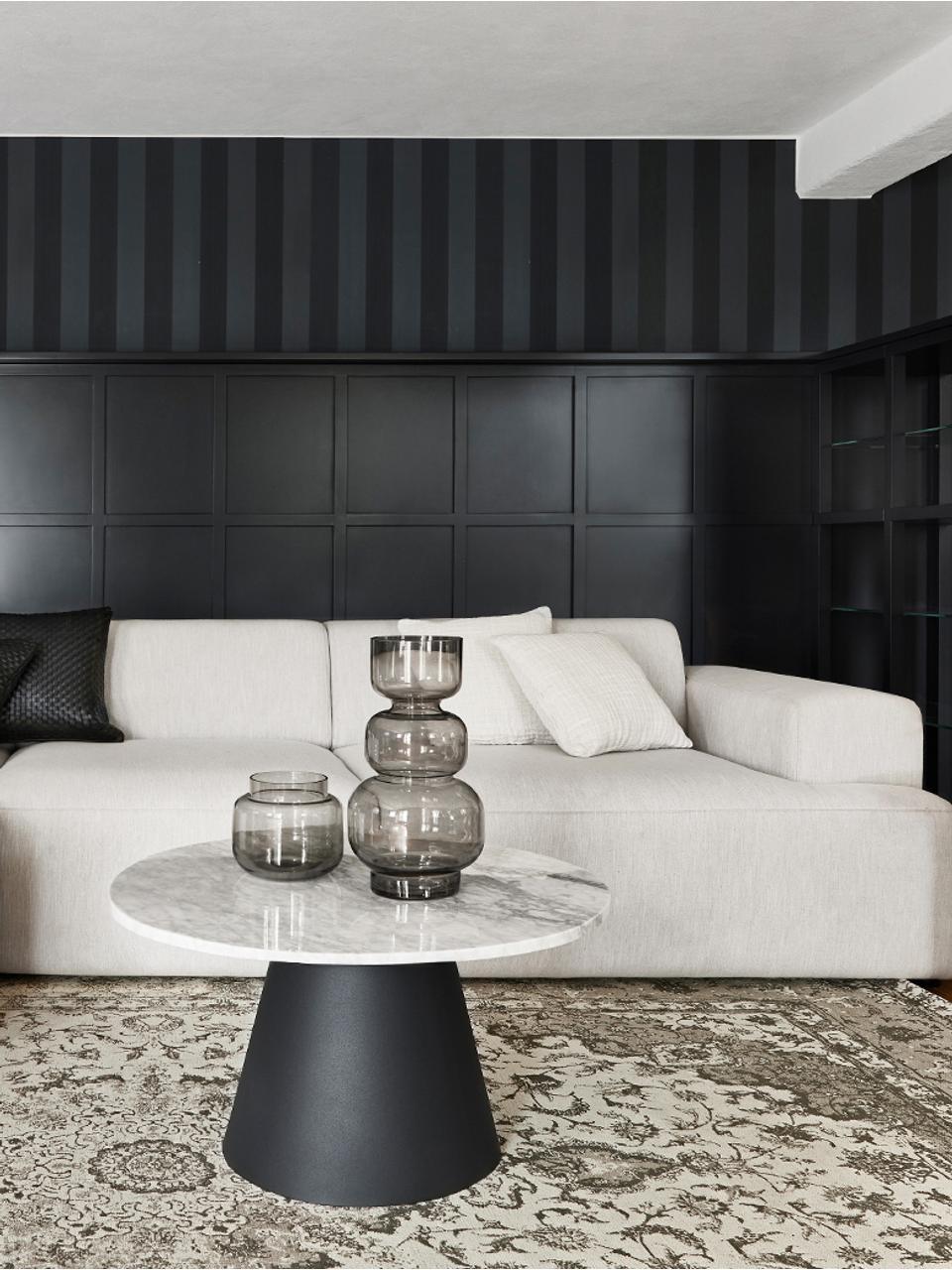 Hoekbank Melva (4-zits), Bekleding: polyester, Frame: massief grenenhout, spaan, Poten: grenenhout, Geweven stof beige, B 319 x D 144 cm