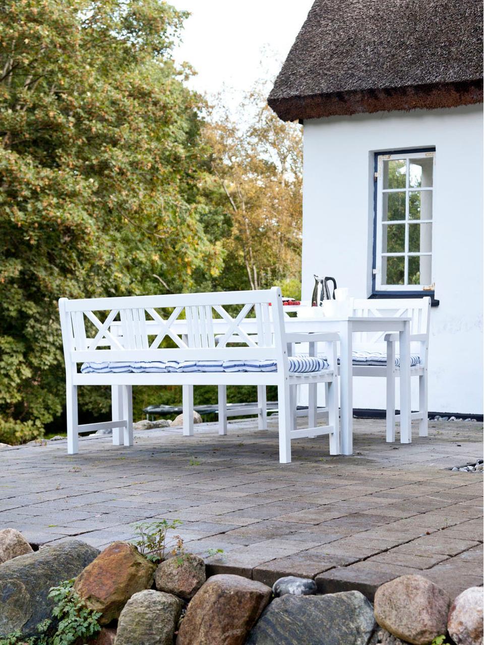 Ławka ogrodowa z drewna Rosenborg, Drewno tekowe, piaskowane, Biały, 150 x 89 cm