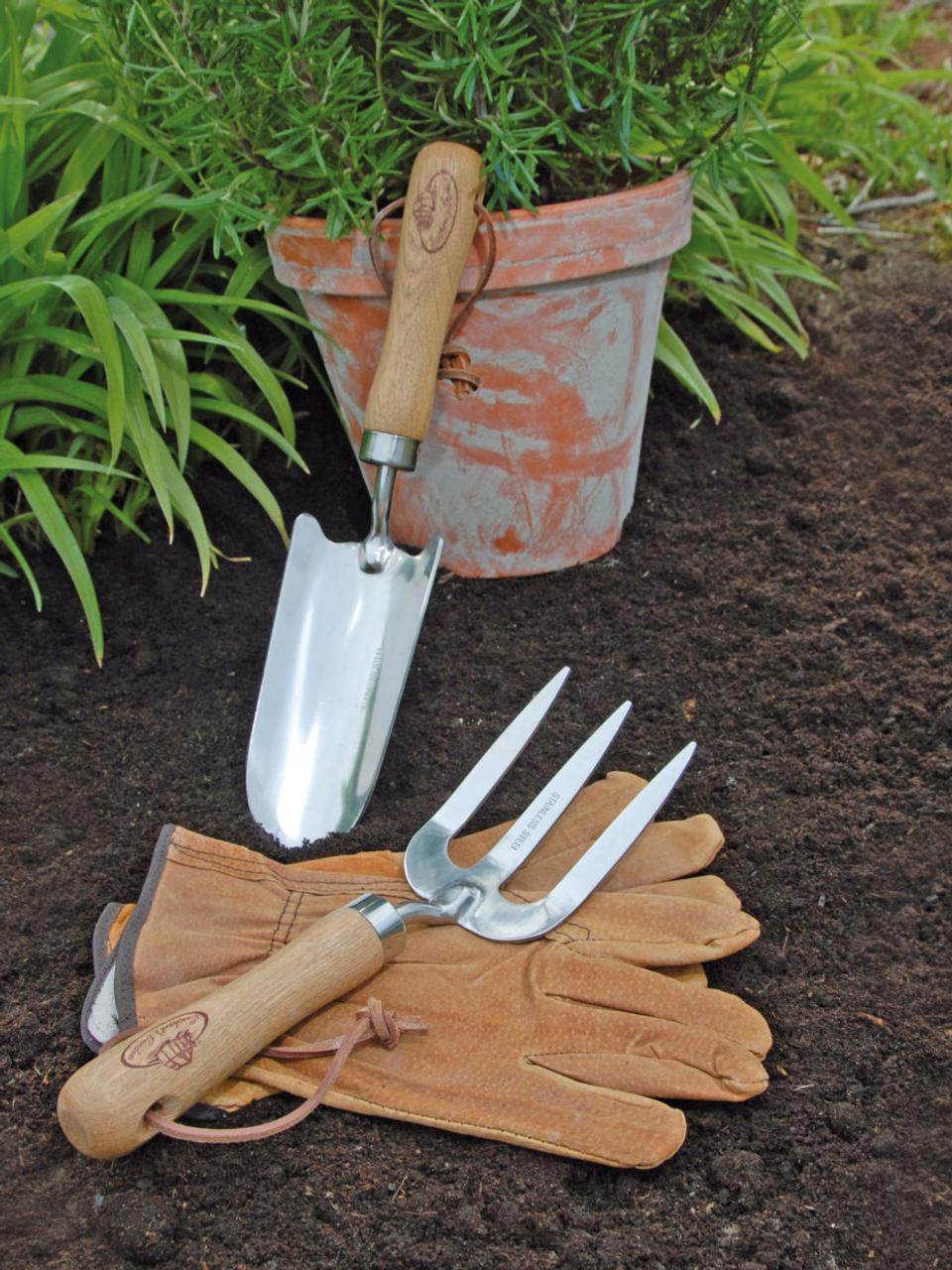 Gartengeräte Gardenia, 4er-Set, Griffe: Eschenholz, Eschenholz, Stahl, 36 x 34 cm