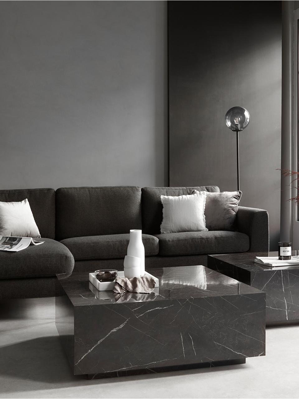 Schwebender Couchtisch Lesley in Marmor-Optik, Mitteldichte Holzfaserplatte (MDF), mit Melaminfolie überzogen, Schwarz, marmoriert, 90 x 35 cm