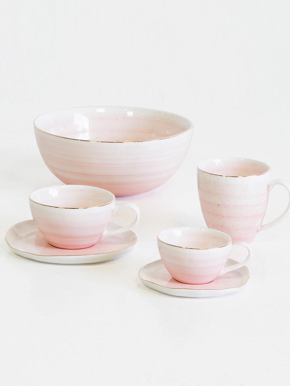 Set 4 tazze fatte a mano con bordo dorato Bella, Porcellana, Rosa, Ø 10 x Alt. 6 cm