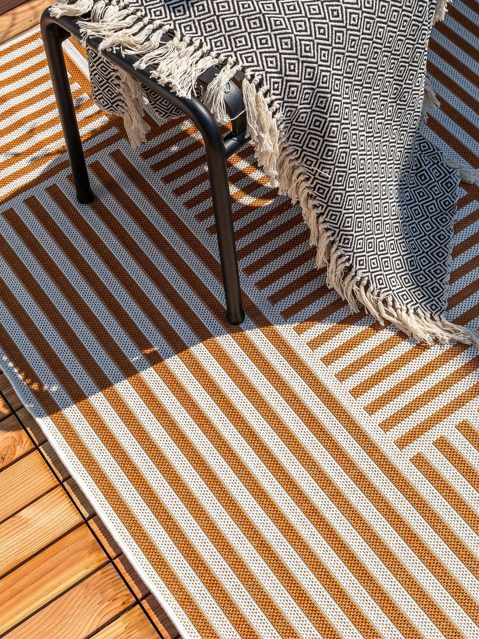 Tappeto da interno-esterno Nillo, 100% polietilene, Arancione, crema, Larg. 240 x Lung. 340 cm (taglia XL)