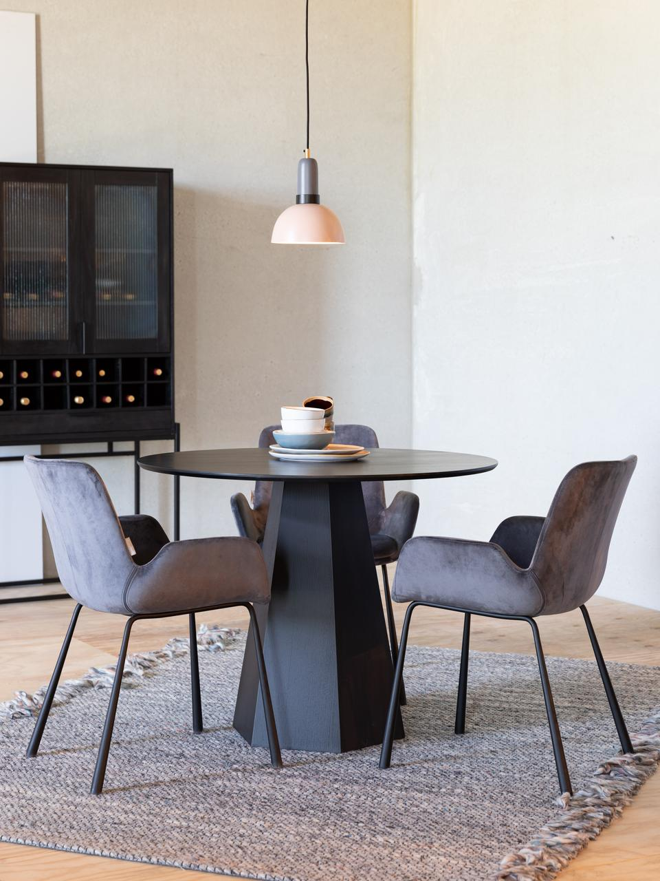 Runder Esstisch Pilar in Schwarz, Sperrholz mit Eschenholzfurnier, Schwarz, Ø 100 x H 76 cm