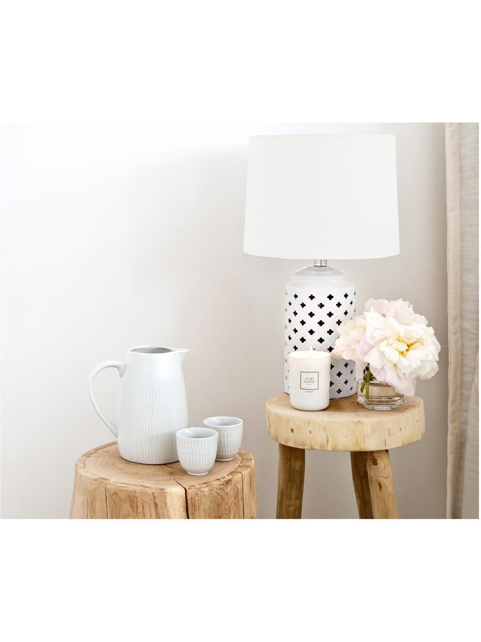 Keramik-Tischlampe Naomi, Lampenschirm: Textil, Lampenfuß: Keramik, Weiß, Ø 28 x H 52 cm