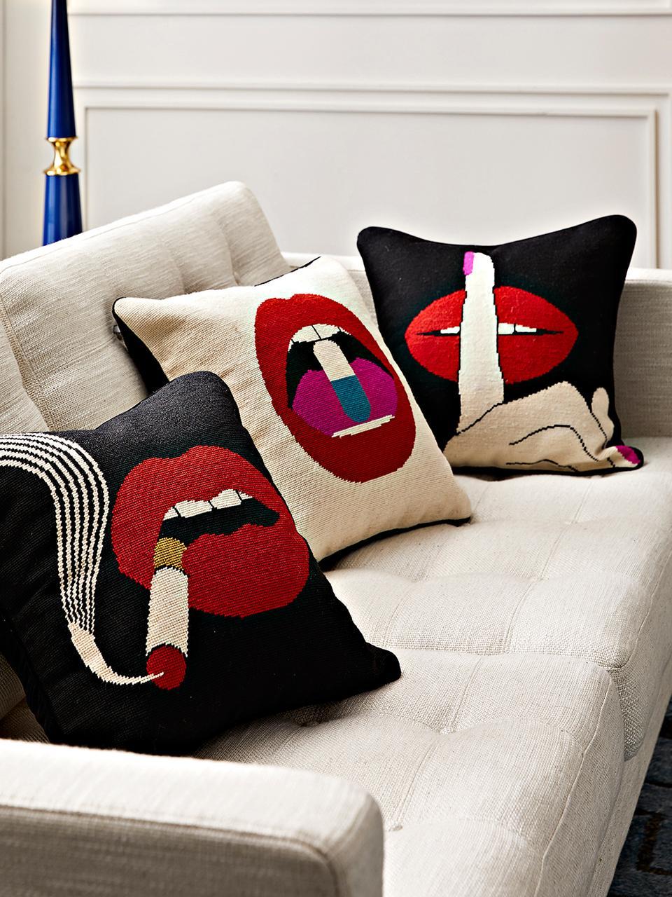 Cuscino con imbottitura di design Bobbly, Retro: velluto, Beige, rosso, Larg. 45 x Lung. 45 cm