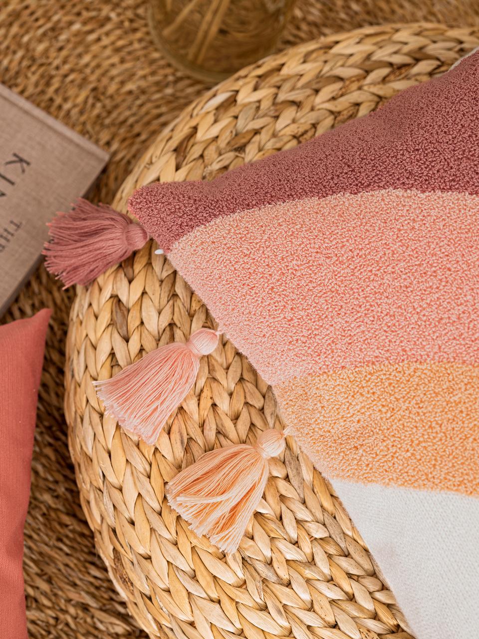 Kissenhülle Verano mit Quasten und weicher Struktur-Oberfläche, 60% Baumwolle, 40% Polyacryl, Cremefarben, Pfirsichfarben, Rosa, Terrakotta, 45 x 45 cm