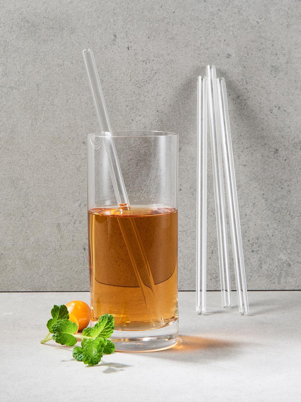 Paille en verre Long Drink, 5 élém., Transparent