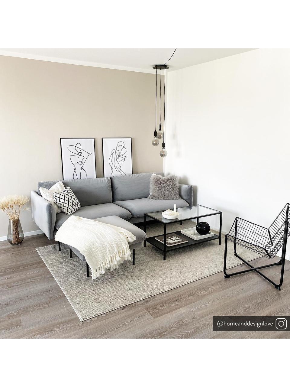 Samt-Sofa Moby (2-Sitzer) in Grau mit Metall-Füßen, Bezug: Samt (Hochwertiger Polyes, Gestell: Massives Kiefernholz, Füße: Metall, pulverbeschichtet, Samt Grau, B 170 x T 95 cm