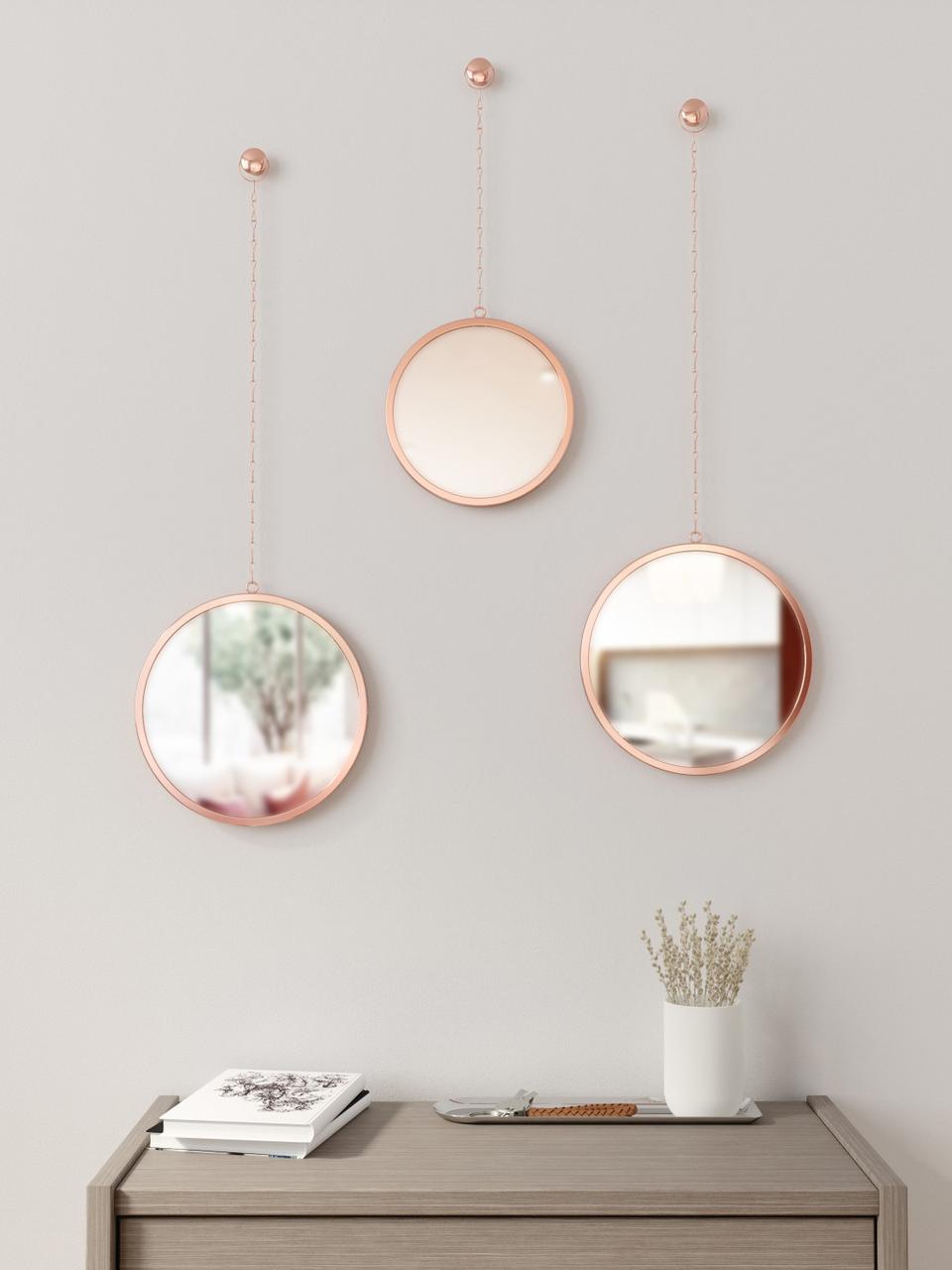 Wandspiegelset Dima, 3-delig, Frame: gecoat metaal, Koperkleurig, Set met verschillende formaten