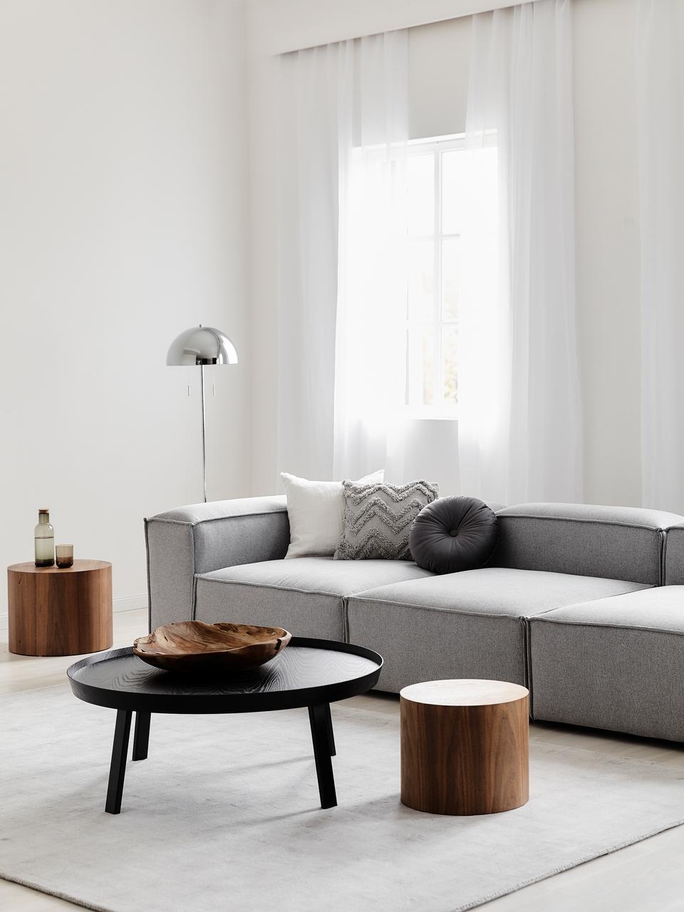 Modulares Sofa Lennon (4-Sitzer), Bezug: Polyester Der hochwertige, Gestell: Massives Kiefernholz, Spe, Füße: Kunststoff, Webstoff Hellgrau, B 326 x T 119 cm