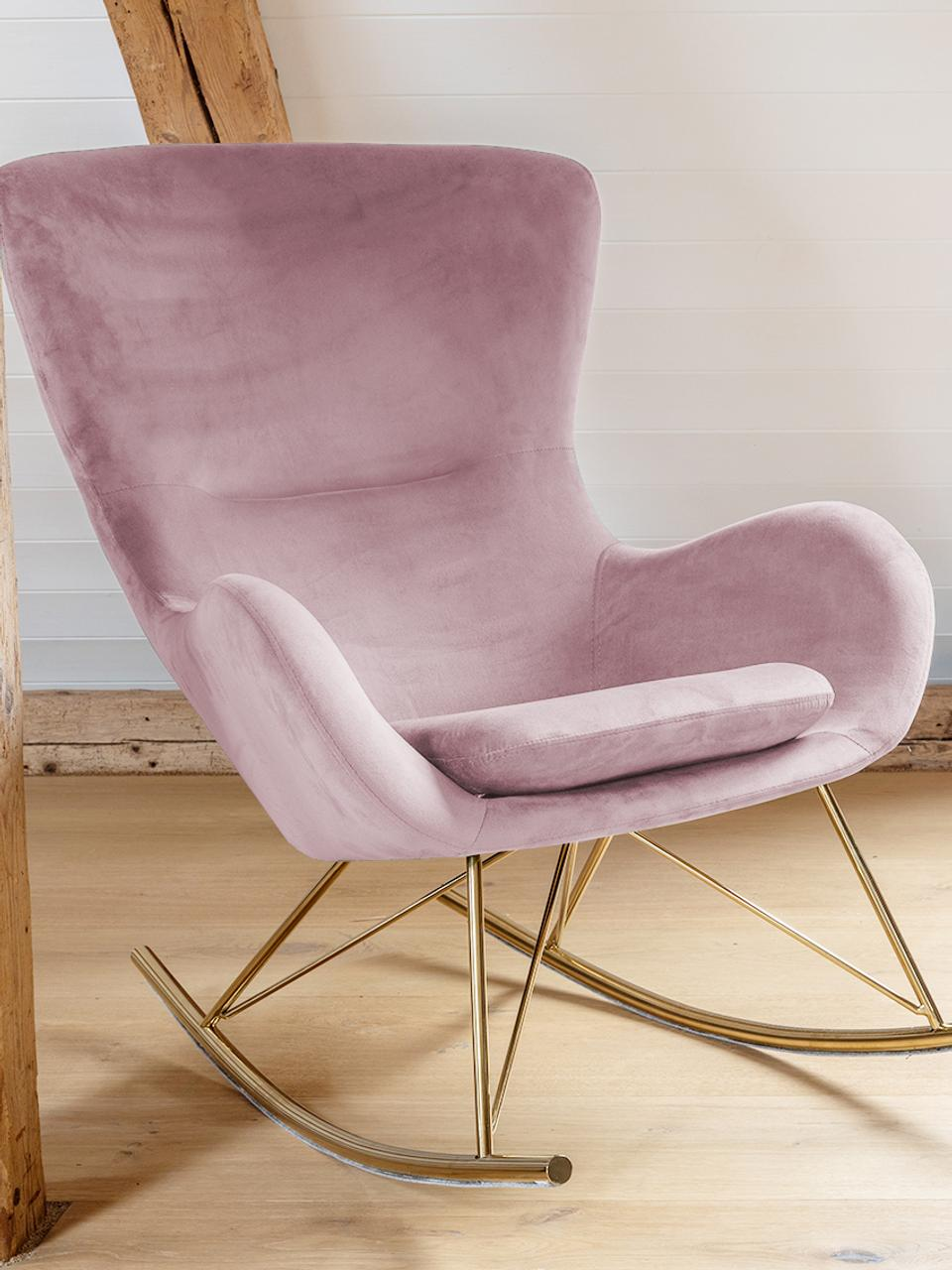 Fauteuil à bascule en velours rose Wing, Velours rose
