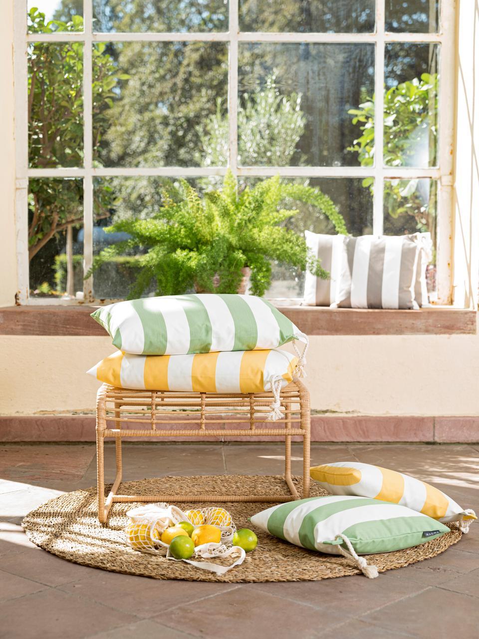 Gestreifte Outdoor-Kissenhülle Santorin in Gelb/Weiß, 100% Polypropylen, Teflon® beschichtet, Gelb, Weiß, 40 x 60 cm