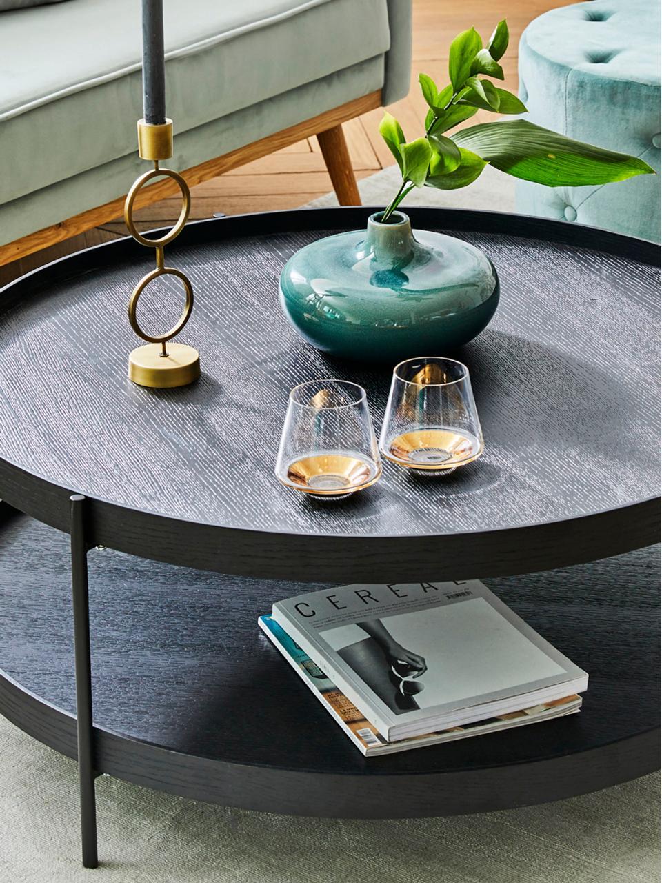 Bicchiere acqua in vetro soffiato Space 2 pz, Vetro, Trasparente, dorato, Ø 10 x Alt. 9 cm