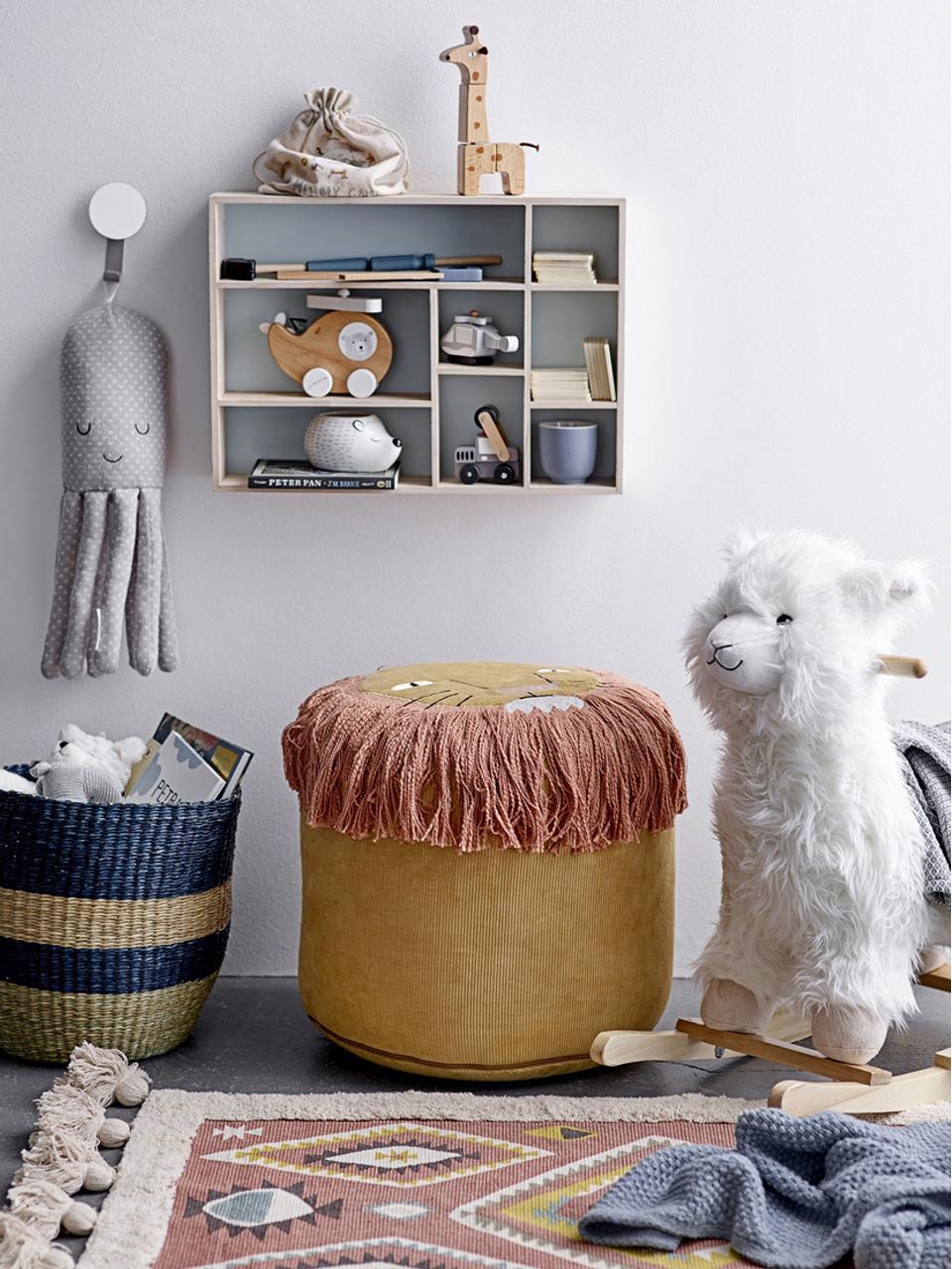 Dondolo Lama, Poliestere, legno di pioppo, Bianco, marrone, Larg. 65 x Alt. 70 cm