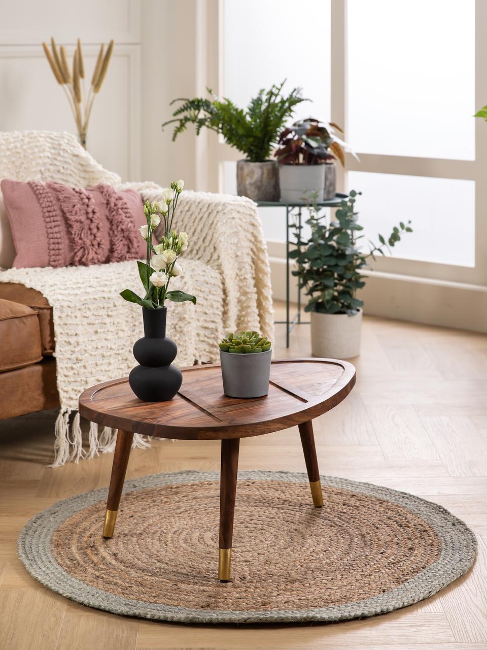 Runder Jute-Teppich Shanta mit mintgrünem Rand, handgefertigt, Jute, Mintgrün, Ø 100 cm (Größe XS)