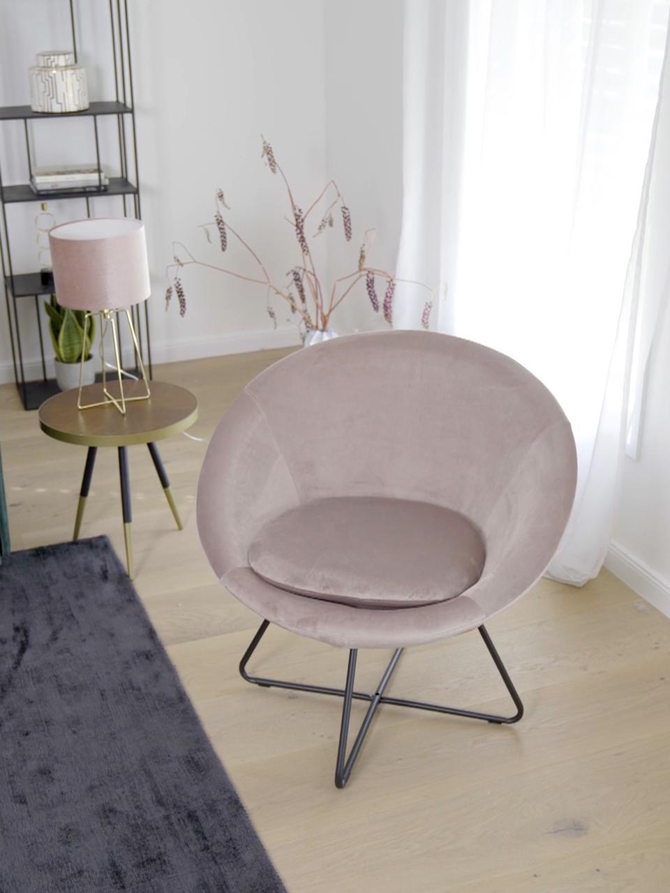 Poltrona in velluto rosa cipria Center, Rivestimento: velluto di poliestere Con, Gambe: metallo verniciato a polv, Rosa cipria, Larg. 82 x Alt. 71 cm
