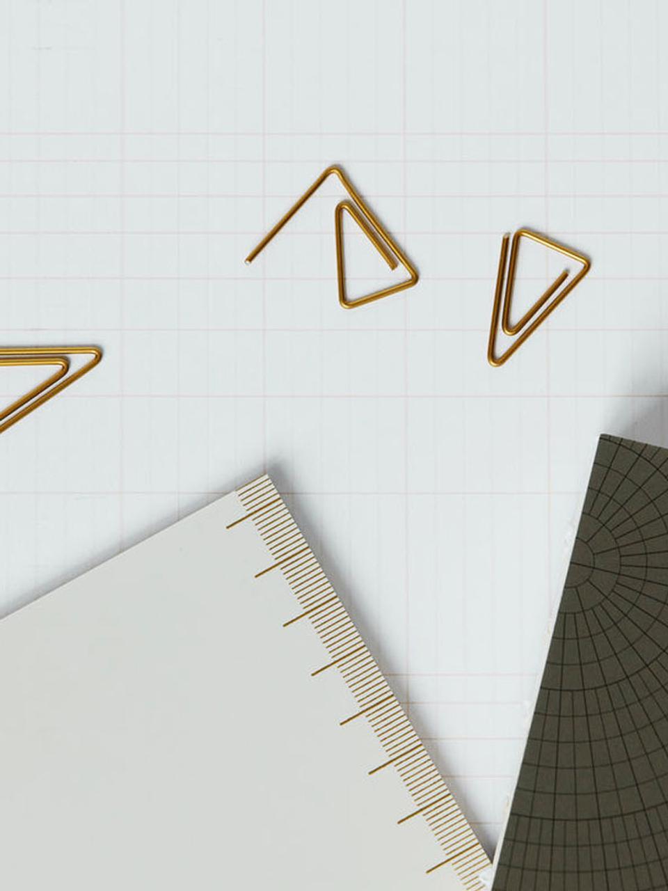 Büroklammern Triangle, 20 Stück, Edelstahl, vermessingt, Messing, L 3 cm