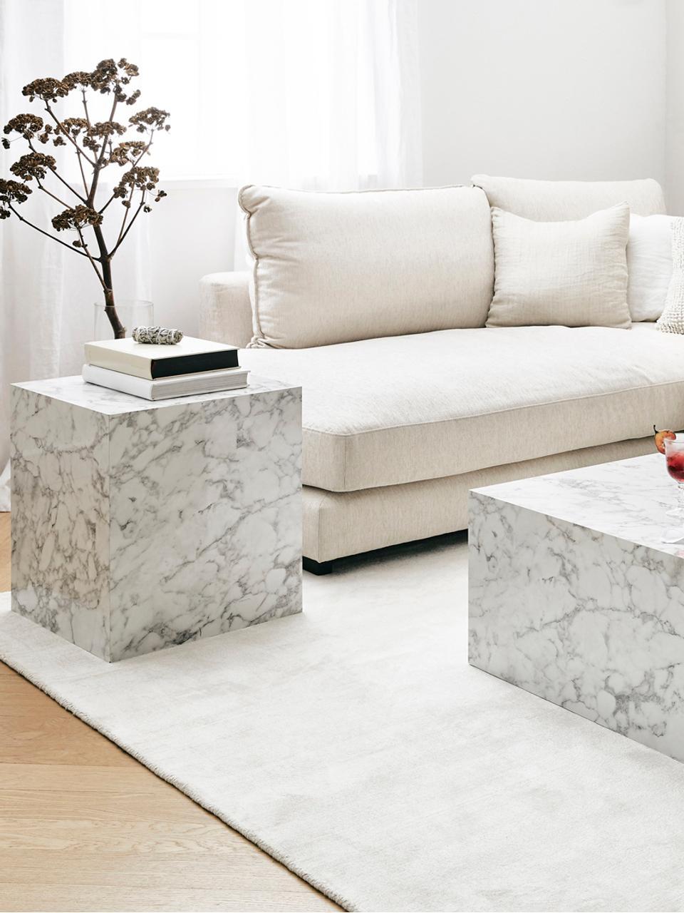 Beistelltisch Lesley in Marmoroptik, Mitteldichte Holzfaserplatte (MDF), mit Melaminfolie überzogen, Weiß, marmoriert, 45 x 50 cm