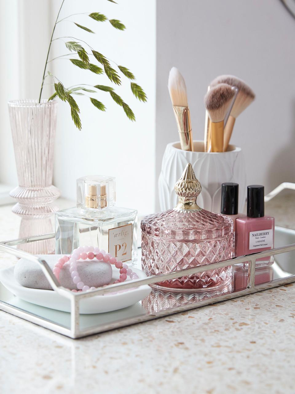 Opbergpot Miya, Glas, Roze, transparant, goudkleurig, Ø 9 x H 11 cm