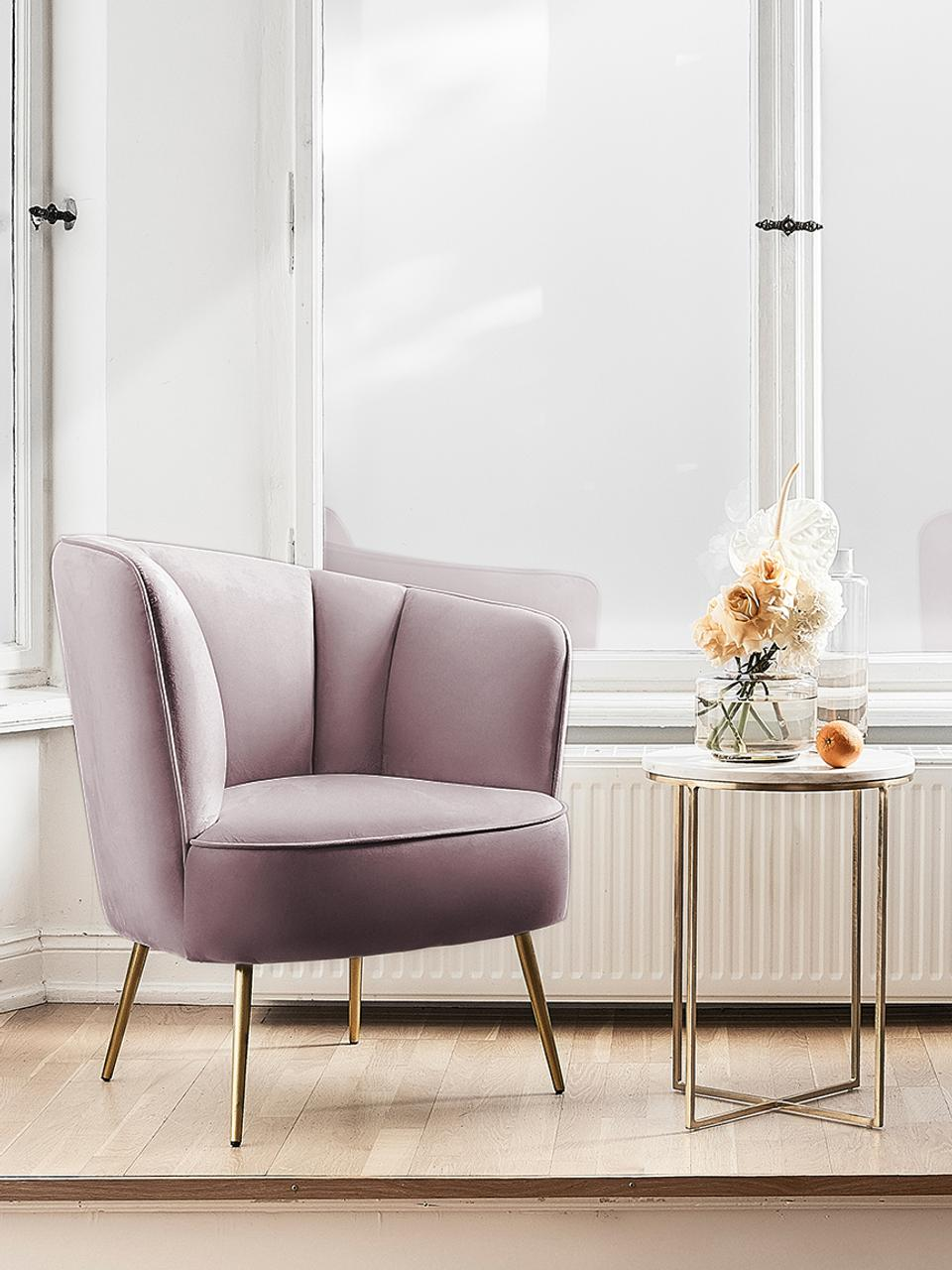 Fauteuil cocktail en velours rose Louise, Velours mauve