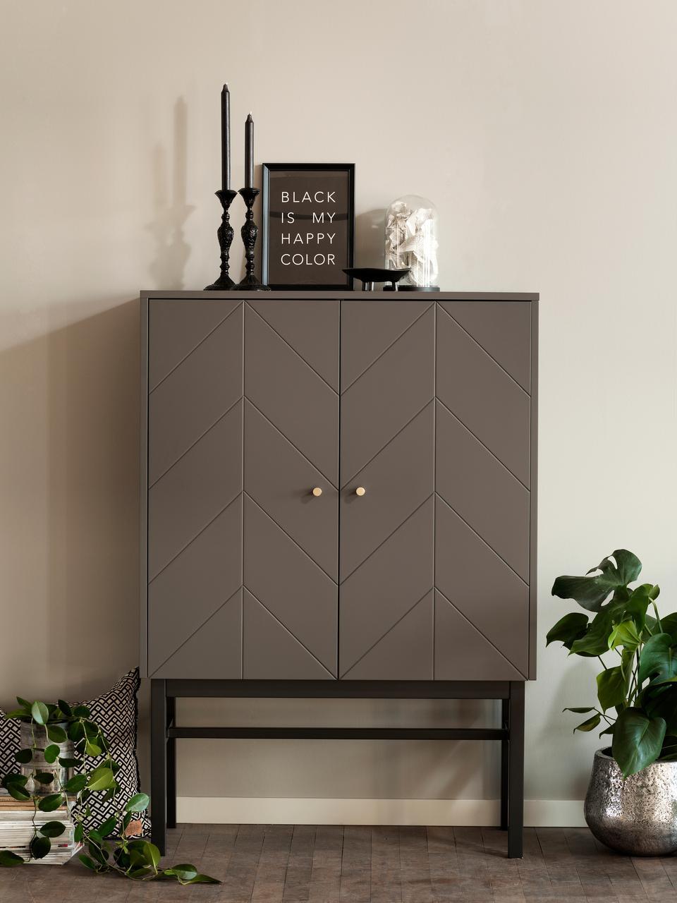 Dressoir Webster met deuren in grijs, Frame: MDF, Poten: massief rubberhout, Grijs, antraciet, 94 x 135 cm