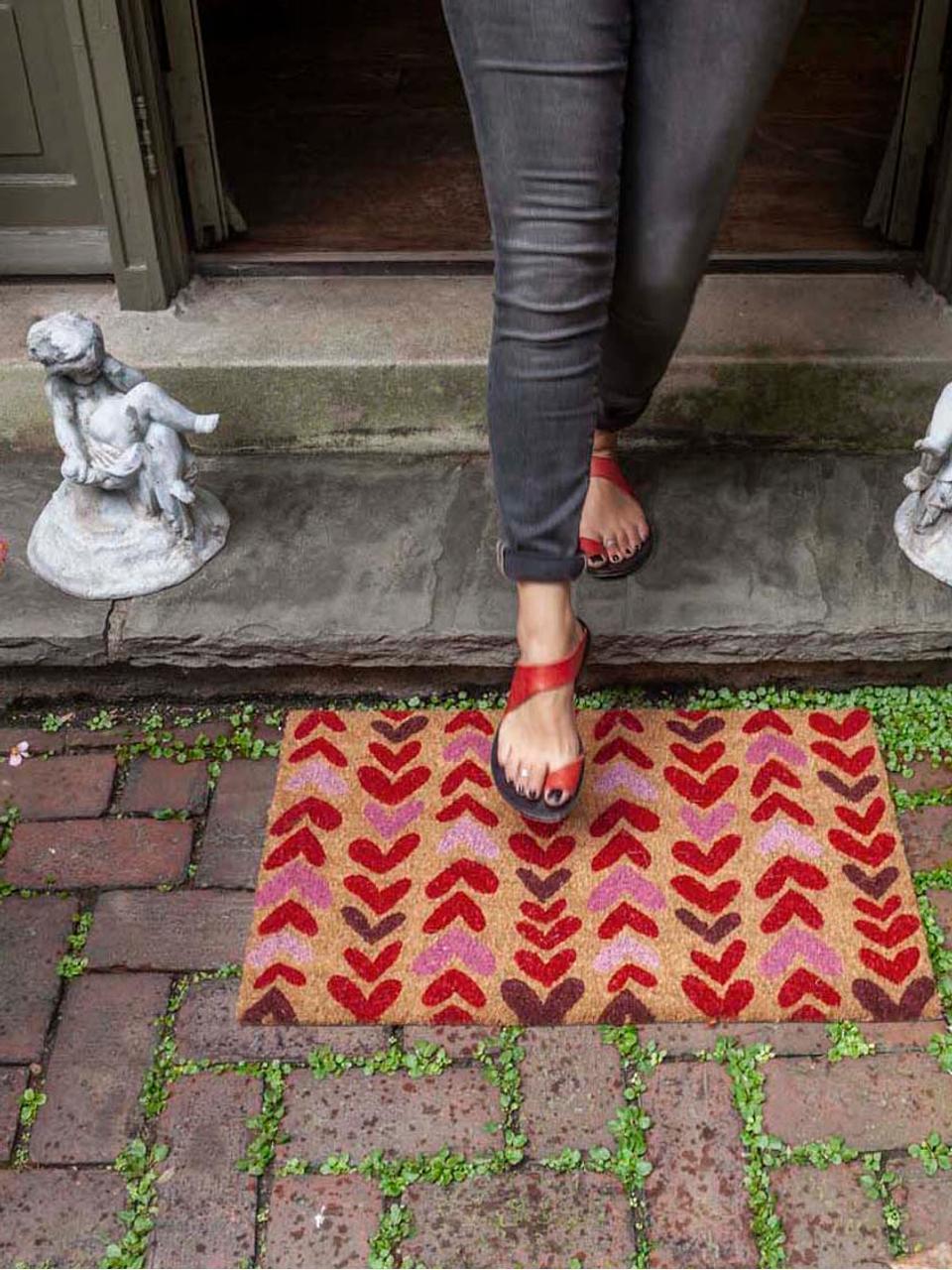 Fußmatte Heartwood, Oberseite: Kokosfasern, Unterseite: PVC, Beige, Rot, Pink, 43 x 70 cm