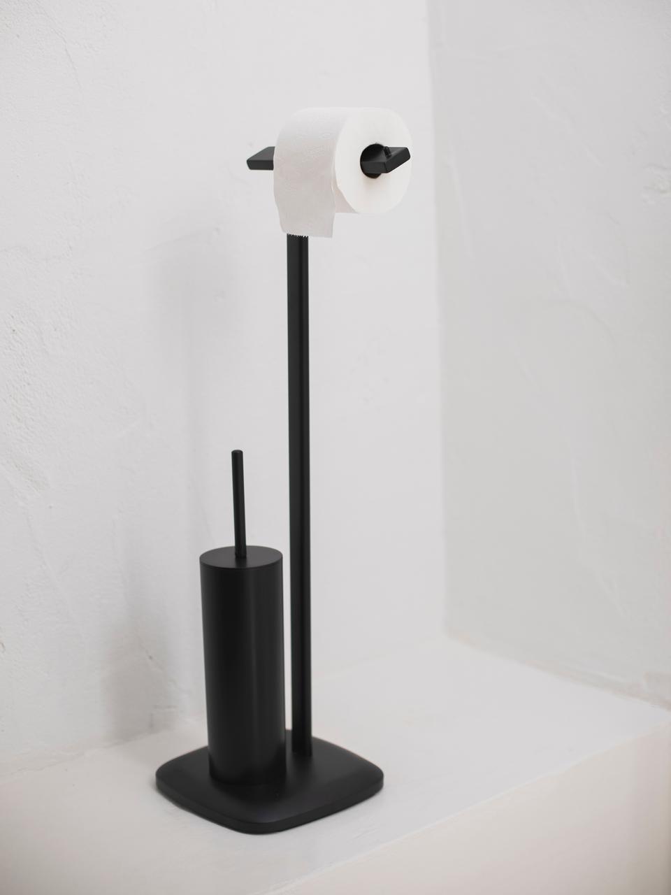 Portarotolo con scopino Deptford, Metallo rivestito, Nero, Larg. 23 x Alt. 73 cm