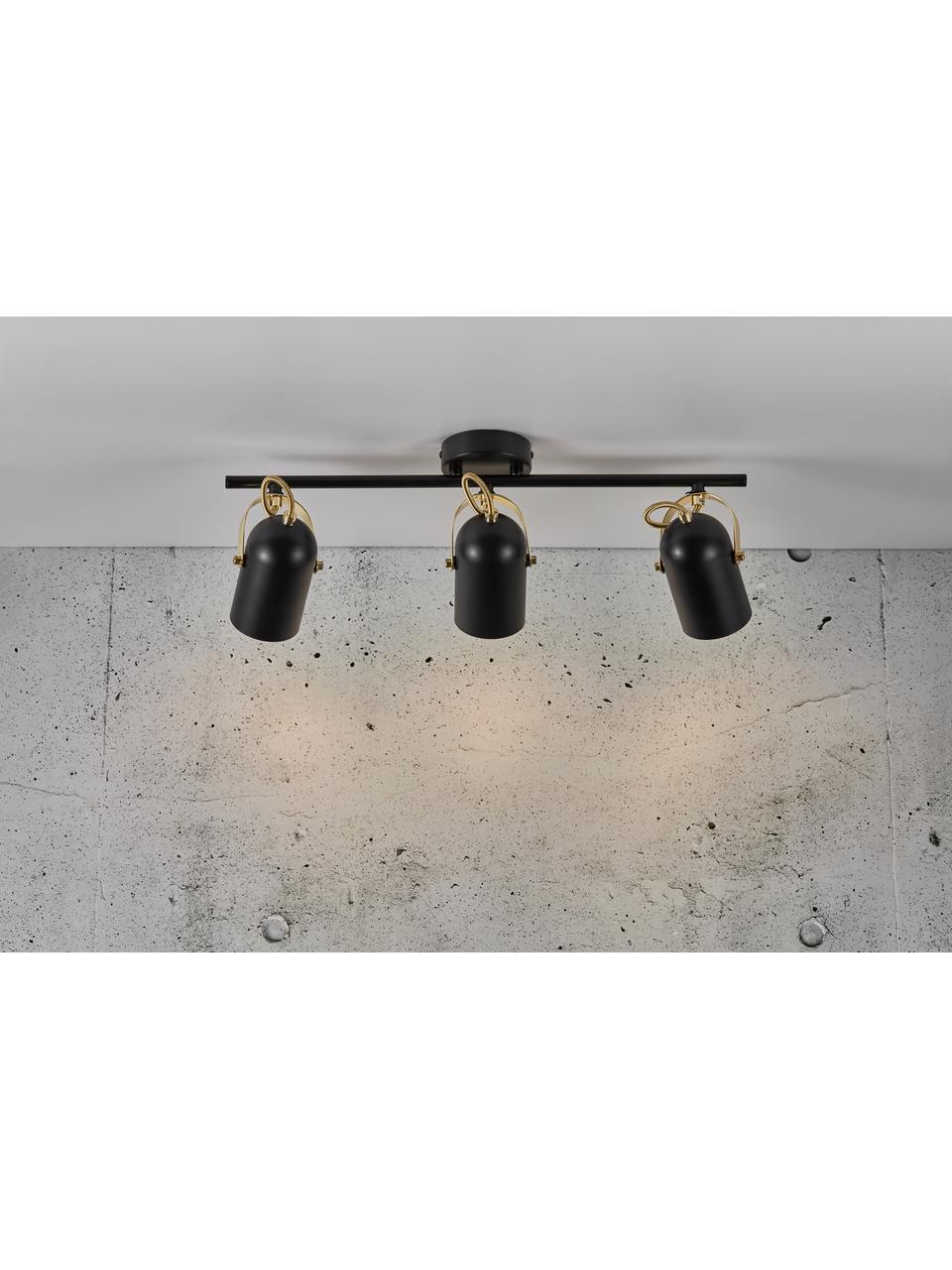 Retro-Deckenstrahler Lotus, Lampenschirm: Metall, beschichtet, Dekor: Metall, beschichtet, Baldachin: Metall, beschichtet, Schwarz, Messingfarben, 58 x 20 cm