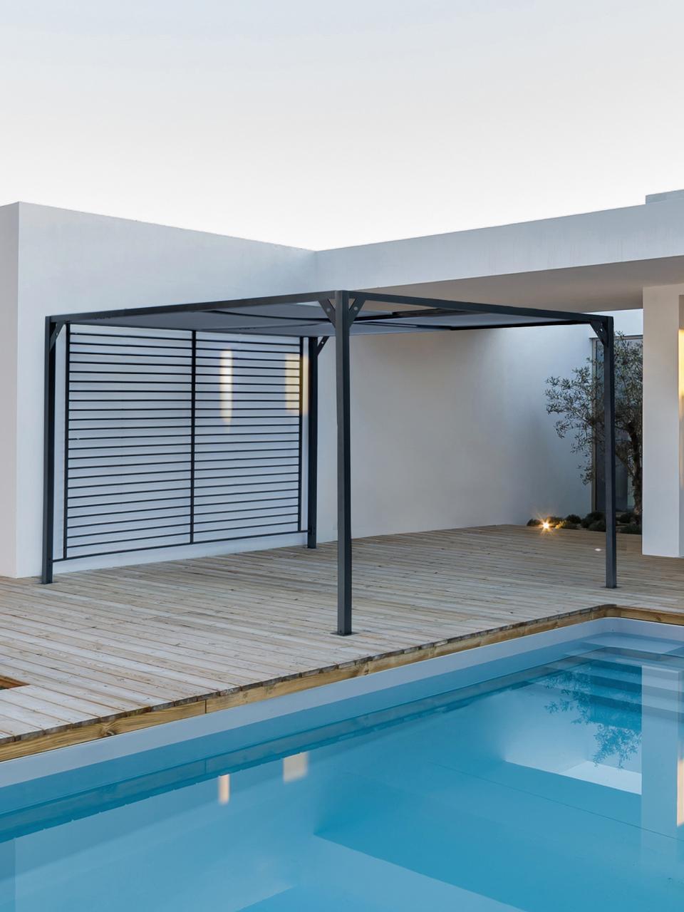 Toldo con techo corredizi Noah, Estructura: aluminio con pintura en p, Gris oscuro, 360 x 210 cm