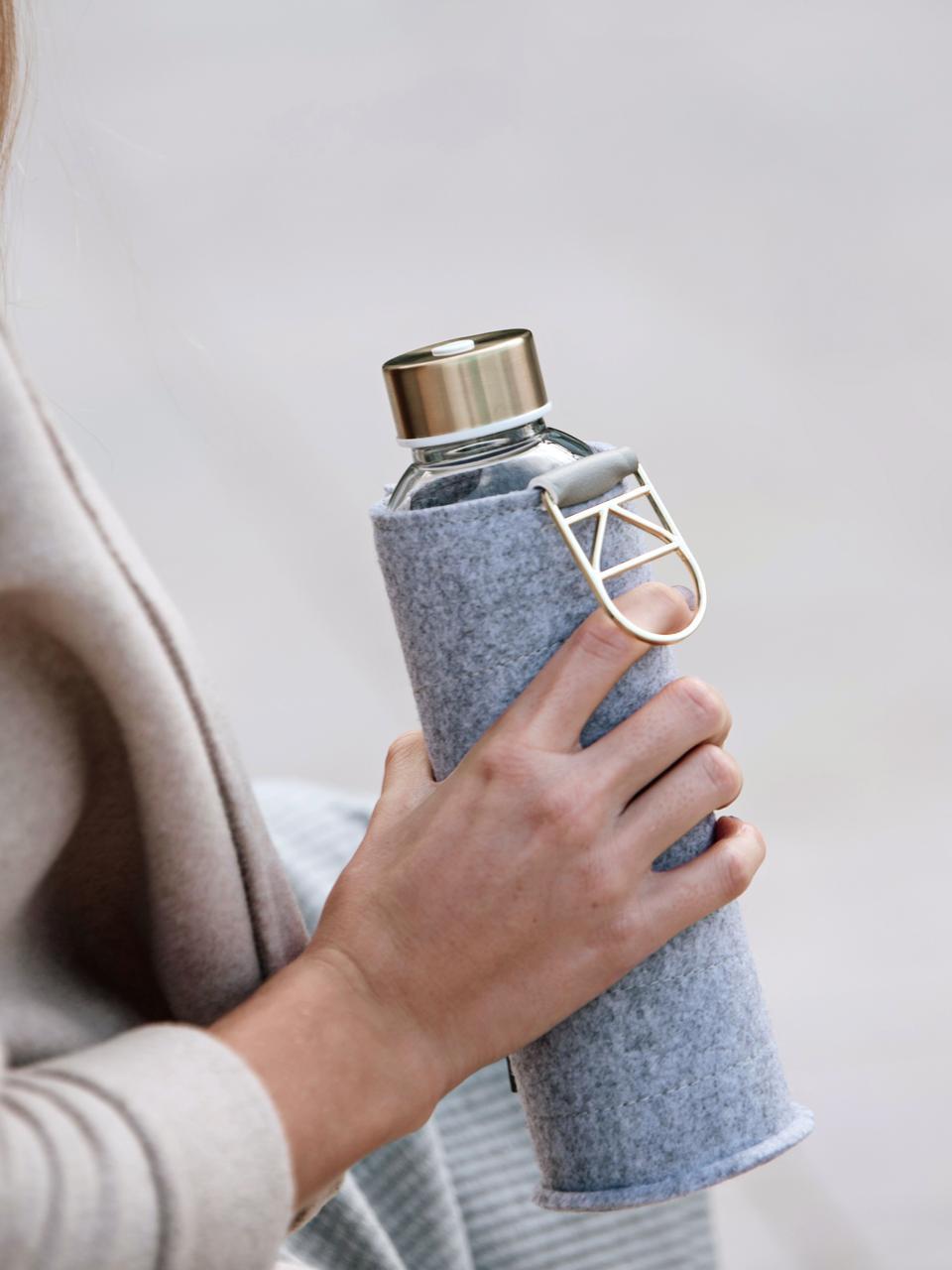 Drinkfles Mismatch, Fles: borosilicaatglas, Deksel: edelstaal, tritan (kunsts, Grijs, transparant, goudkleurig, Ø 8 x H 26 cm
