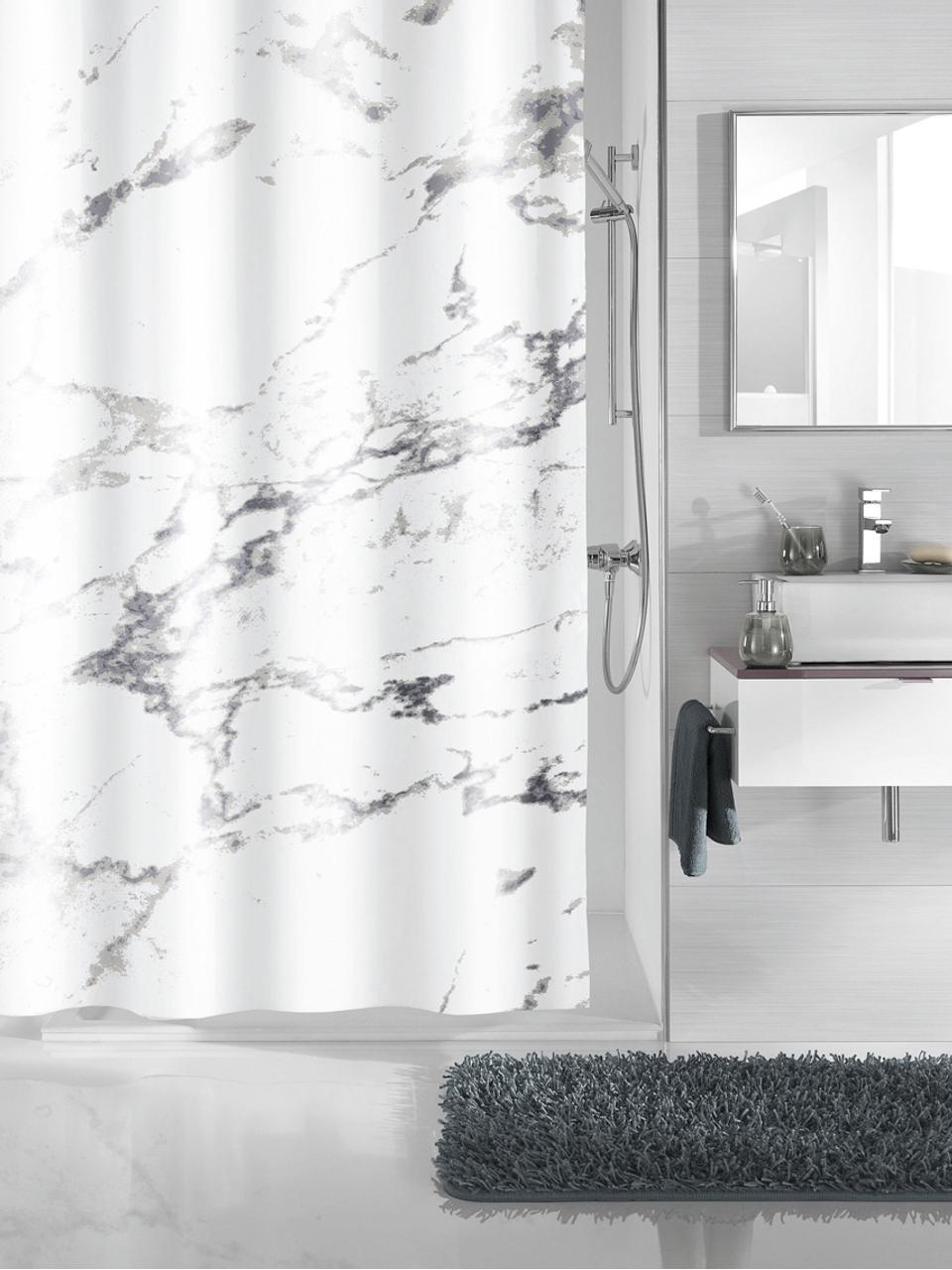Zasłona prysznicowa Marble, 100% poliester Produkt odporny na wilgoć, niewodoodporny, Antracytowy, biały, S 180 x D 200 cm
