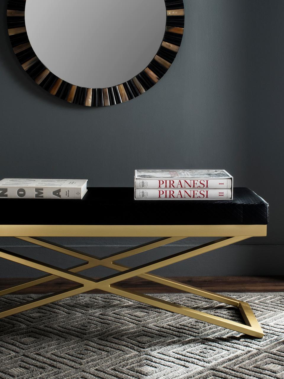 Sitzbank Susan mit Kunstleder, Gestell: Stahl, lackiert, Bezug: Kunstleder (Polyurethan) , Schwarz, Goldfarben, 109 x 46 cm