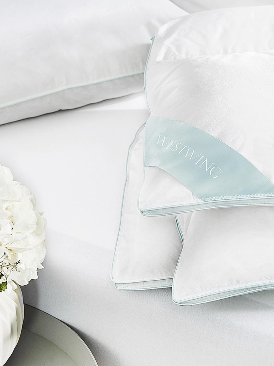 Reine Daunen-Bettdecke Premium, extra leicht, Hülle: 100% Baumwolle, feine Mak, Weiß, 135 x 200 cm