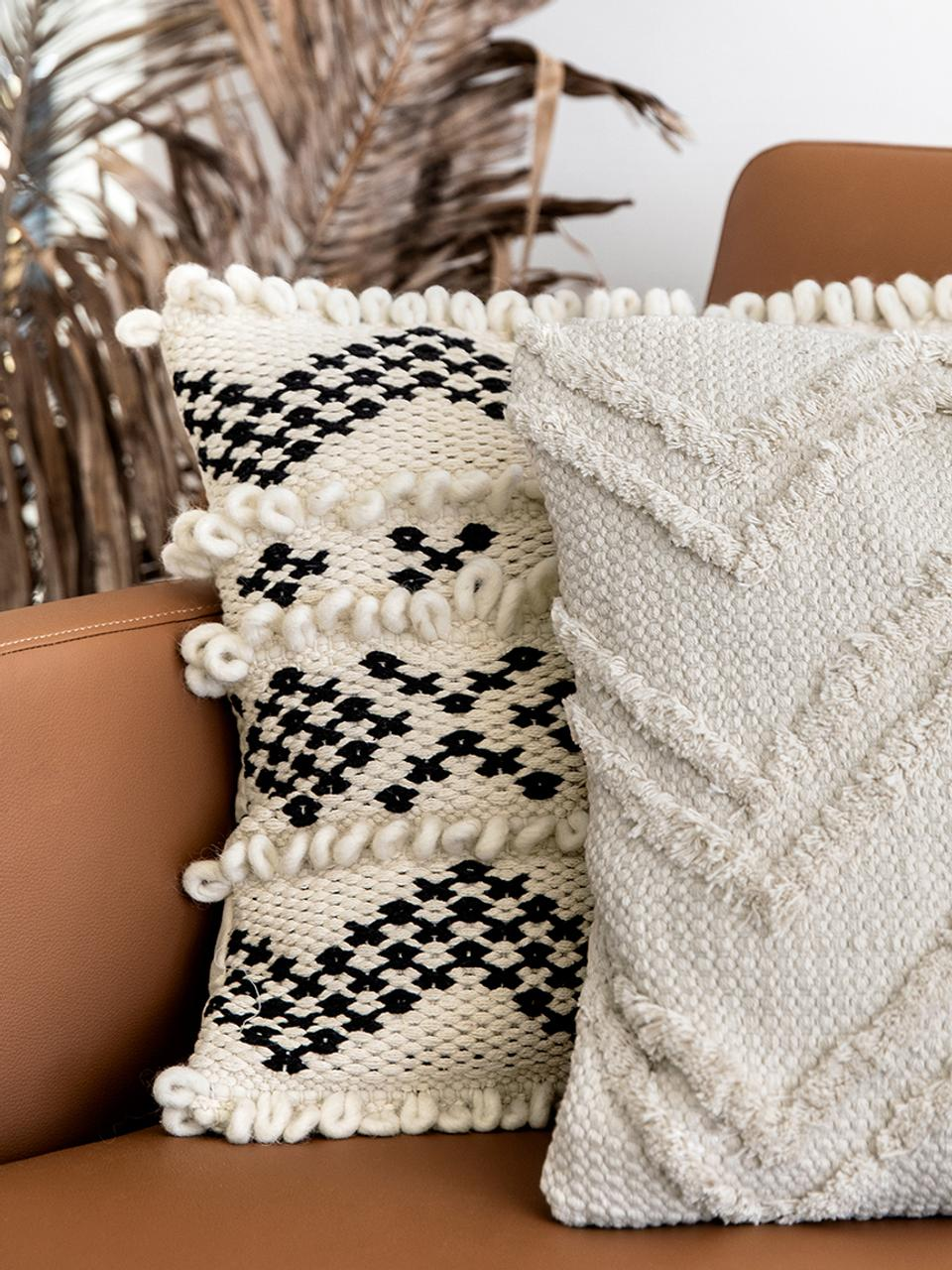 Boho kussenhoes Akesha met getuft zigzagpatroon, 100% katoen, Ecru, 45 x 45 cm