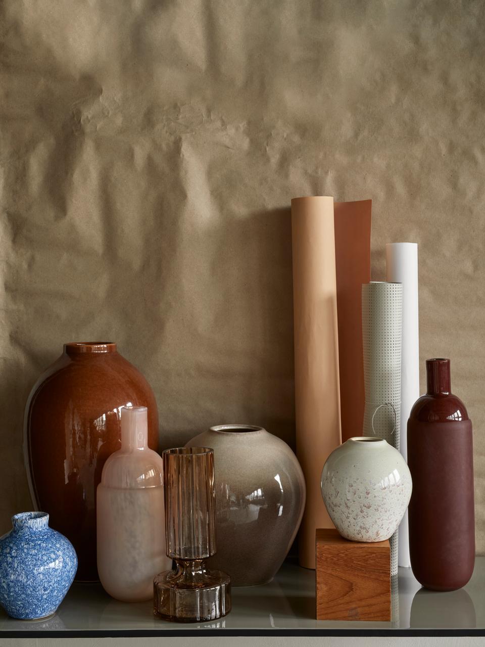 Vasen-Set Ingrid aus Keramik, 3-tlg., Keramik, Weiß, Beigetöne, Ø 14 x H 15 cm