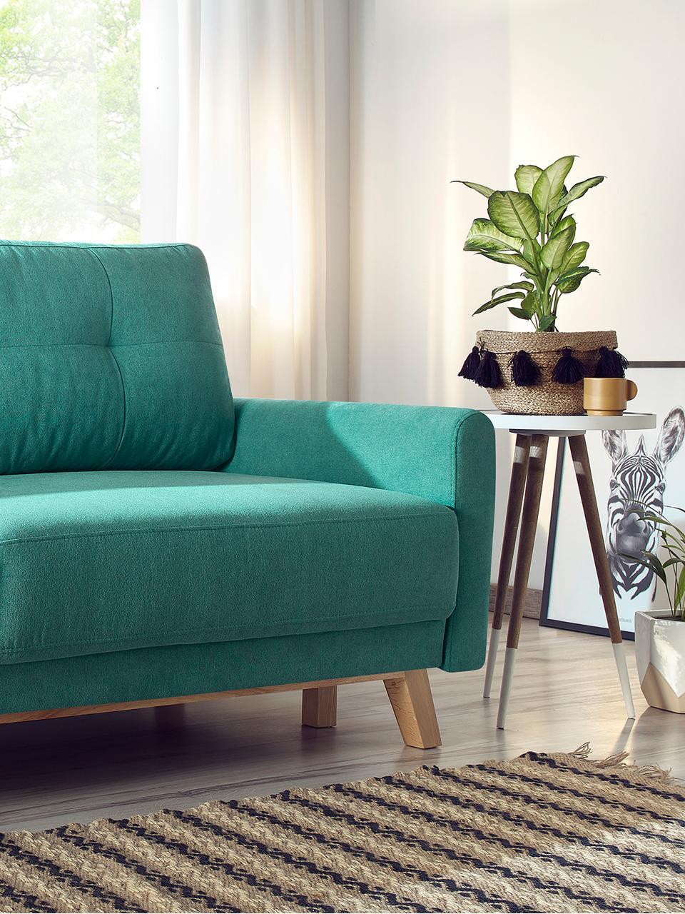 Sofa z aksamitu z funkcją spania i schowkiem  Balio (3-osobowa), Tapicerka: aksamit poliestrowy Dzięk, Nogi: drewno naturalne, Szmaragdowy, S 216 x G 102 cm