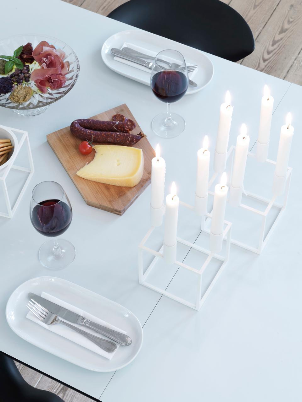 Candelabro forma di cubo Kubus, Acciaio, verniciato, Bianco, L 14 x A 20 cm