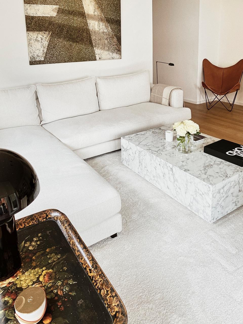 Zwevende salontafel Lesley met marmerlook, MDF bekleed met melaminefolie, Wit, gemarmerd, glanzend, 120 x 35 cm